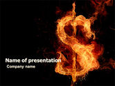 Financial/Accounting: Flaming Dollar PowerPoint Template #05347