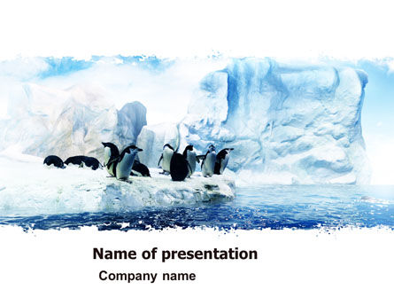 Nature & Environment: Penguins On The Iceberg PowerPoint Template #05353