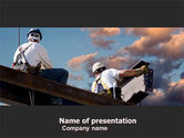 Construction: Builders On Roof PowerPoint Template #05370