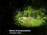 Nature & Environment: Pathway In The Forest PowerPoint Template #05377