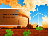 Nature & Environment: Wind Energy Versus Coal Plant PowerPoint Template #05385