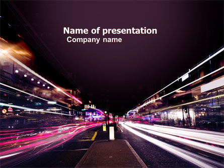 Cars and Transportation: Night Photography PowerPoint Template #05398
