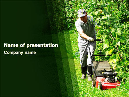 Lawn Mower PowerPoint Template, 05399, Agriculture — PoweredTemplate.com