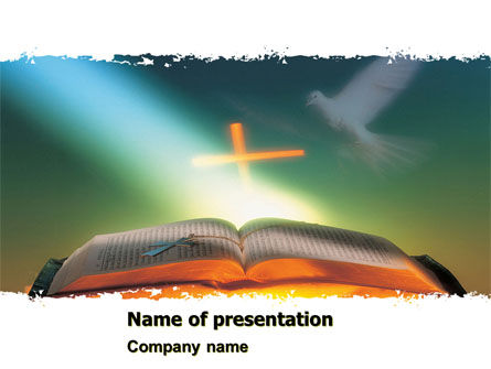 Religious/Spiritual: Bible With Holy Dove PowerPoint Template #05408