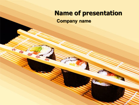 Sushi Rolls PowerPoint Template, 05420, Food & Beverage — PoweredTemplate.com