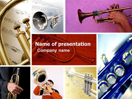 Trumpet Collage PowerPoint Template, 05424, Art & Entertainment — PoweredTemplate.com