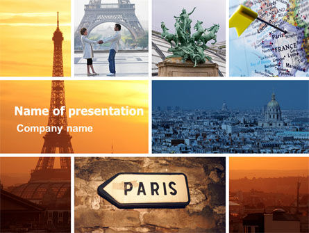 Paris In Collage PowerPoint Template, 05425, Careers/Industry — PoweredTemplate.com