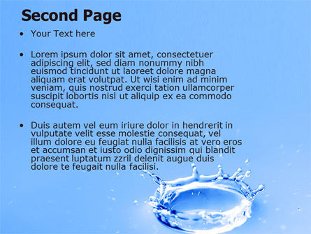 Blue Water Splash PowerPoint Template, Slide 2, 05444, Nature & Environment — PoweredTemplate.com