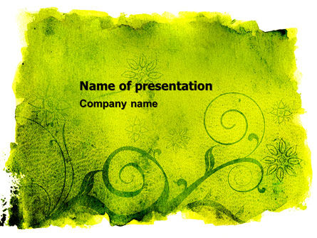 Green Ornament PowerPoint Template, 05450, Abstract/Textures — PoweredTemplate.com