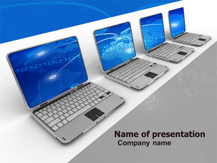 Laptops Line PowerPoint Template, 05457, Computers — PoweredTemplate.com