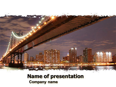 Construction: Manhattan Bridge PowerPoint Template #05475
