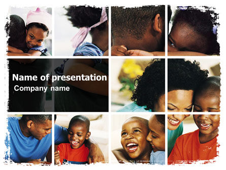 Happy Afroamerican Family PowerPoint Template, 05485, People — PoweredTemplate.com