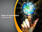 Technology and Science: World Links PowerPoint Template #05493