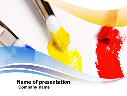 Paint Brushes PowerPoint Template, 05506, Abstract/Textures — PoweredTemplate.com