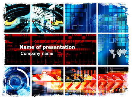 Technology Collage PowerPoint Template, 05510, Technology and Science — PoweredTemplate.com
