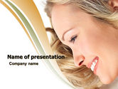 People: Smiling Girl With Amazing Hair PowerPoint Template #05525