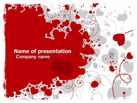 Abstract/Textures: Heart Stains PowerPoint Template #05561
