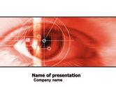 Technology and Science: Eye In Red Colors PowerPoint Template #05574