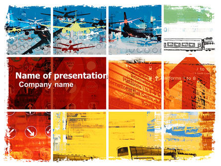 Transportation Collage PowerPoint Template, 05576, Cars and Transportation — PoweredTemplate.com