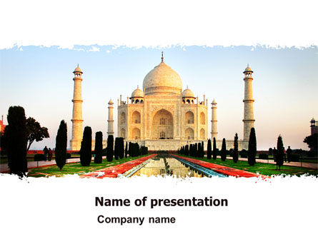 Taj Mahal PowerPoint Template, 05583, Flags/International — PoweredTemplate.com