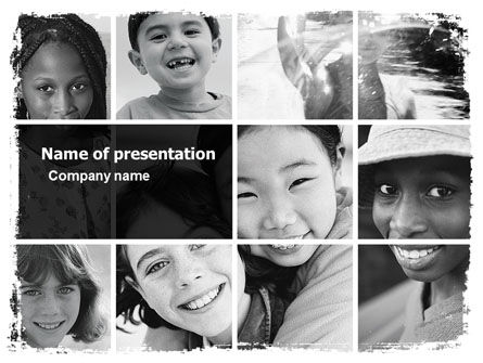 Kids In Black And White Colors PowerPoint Template, 05591, People — PoweredTemplate.com