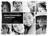 People: Kids In Black And White Colors PowerPoint Template #05591