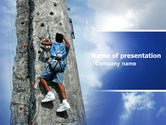 Business Concepts: Climber On A Climbing Wall PowerPoint Template #05592