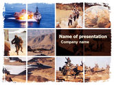 Military: Modelo do PowerPoint - guerra conflitos colagem #05606