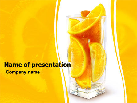Glass Of Orange Slices PowerPoint Template