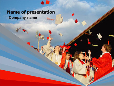Graduation In Red Blue Colors PowerPoint Template, 05620, Education & Training — PoweredTemplate.com