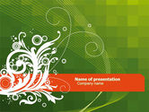 Art & Entertainment: Green Background With White Vegetative Decor PowerPoint Template #05621