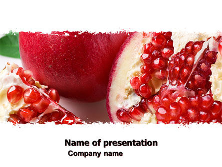 Agriculture: Pomegranate On A Green White Background PowerPoint Template #05637