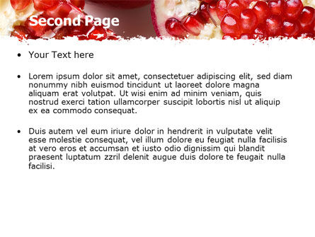 Pomegranate On A Green White Background PowerPoint Template, Slide 2, 05637, Agriculture — PoweredTemplate.com
