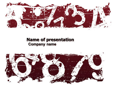Grunge Numbers PowerPoint Template, 05651, Education & Training — PoweredTemplate.com