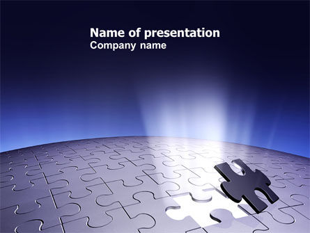 Consulting: Blue Sphere Jigsaw PowerPoint Template #05661
