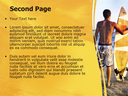 Surfer On A Sunset PowerPoint Template, Slide 2, 05678, Sports — PoweredTemplate.com