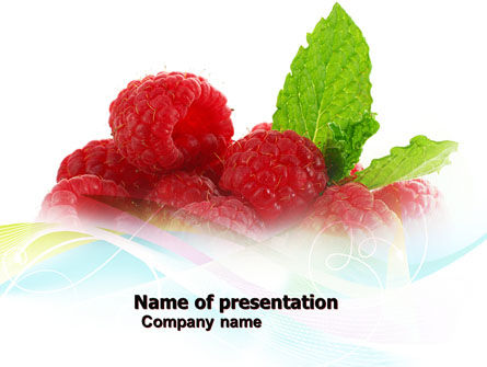 Raspberry With Green Leaf PowerPoint Template