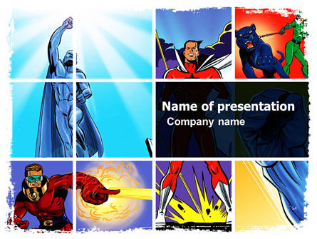 Superheroes PowerPoint Template, 05738, Art & Entertainment — PoweredTemplate.com