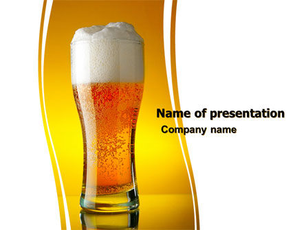 Goblet Of Beer Foaming PowerPoint Template, 05748, Food & Beverage — PoweredTemplate.com