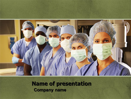 Medical Personnel In Hospital PowerPoint Template, 05749, Medical — PoweredTemplate.com