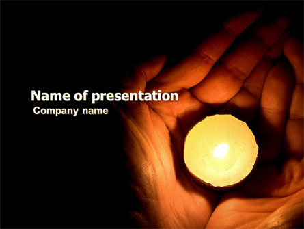 Religious/Spiritual: Candle In Hands PowerPoint Template #05771