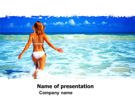 Girl Running On The Waves PowerPoint Template