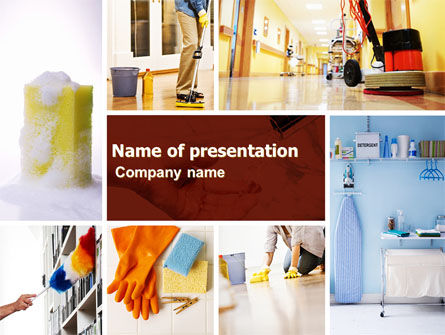 Housecleaning PowerPoint Template, 05780, Careers/Industry — PoweredTemplate.com