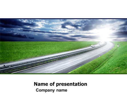 Construction: Dawn Highway PowerPoint Template #05781