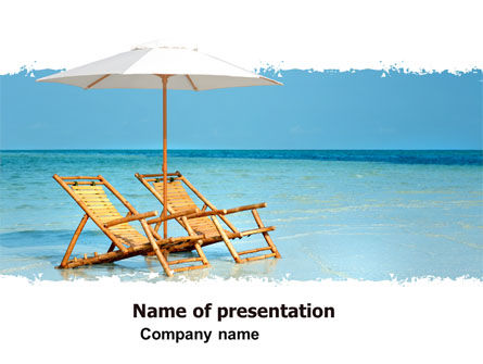Beach Bench PowerPoint Template, 05791, Health and Recreation — PoweredTemplate.com