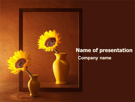 Art & Entertainment: Sunflower Still Life PowerPoint Template #05796