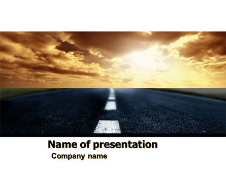 Long Distance Road PowerPoint Template, 05799, Business Concepts — PoweredTemplate.com