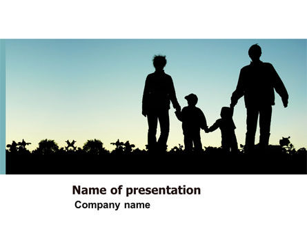 Family Walk PowerPoint Template, 05802, People — PoweredTemplate.com