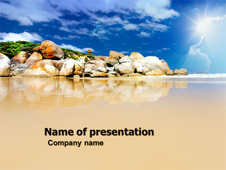 Stony Beach PowerPoint Template, 05807, Nature & Environment — PoweredTemplate.com