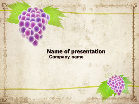Grapes Ornament PowerPoint Template, 05813, Agriculture — PoweredTemplate.com